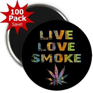LIVE LOVE SMOKE Marijuana Pot Leaf 100 Pack of 2.25 inch Fridge Magnets  Refrigerator Magnets