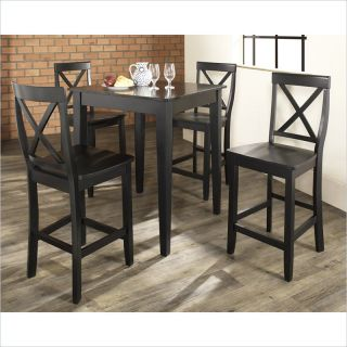 Crosley Furniture 5 Piece Pub Dining Set with Tapered Leg and X Back Stools in Black Finish   KD520005BK