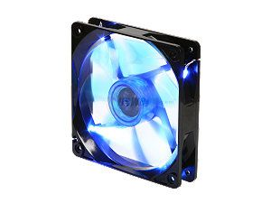 APEVIA  CF12SL BBL  120mm UV blue LED fan w/3 pin and 4 pin connectors and black grill