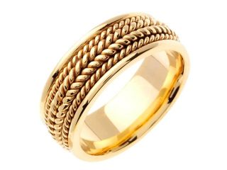 14K Yellow Gold Comfort Fit Double Rope Braided Men'S Wedding Band