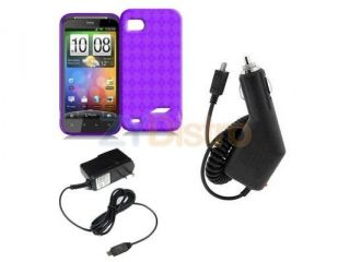 Purple TPU Rubber Skin Case Cover + Car Vehicle + Home Wall Charger Accessories for HTC Rezound 4G