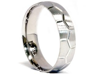 Soccer Ball Design Mens 14K White Gold Brushed Wedding Ring Band Bridal 7 12