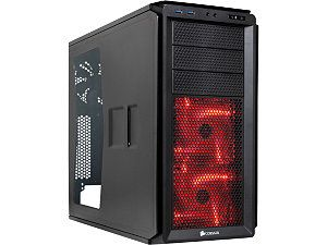 Corsair Graphite Series 230T CC 9011042 WW Black on Black with RED LED fans ATX Mid Tower Side Panel Window l  Computer Case