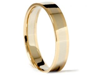 4MM Thin Womens Shiny High Polished 14K White & Yellow Gold Wedding Ring Band