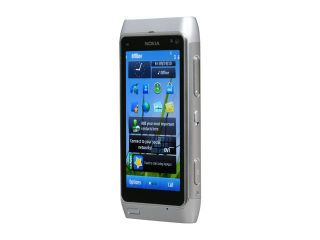 "Nokia N8 Silver/White 3G Unlocked GSM Smart Phone w/ 12MP Camera / 3.5"" AMOLED Touch Screen / GPS / Wi Fi"