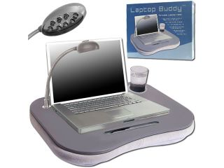 Laptop BuddyT Gray Cushion Desk w/ Light, Pen & Cup Holder