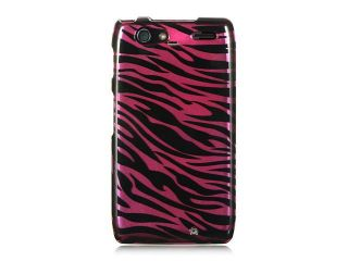 Motorola Razr Maxx XT916 Plum with Black Zebra Design Crystal Case