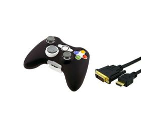 Black Silicone Skin Case for Microsoft xBox 360 Controller + BLACK HDMI to DVI Cable 5Gbps M/M, 15 FT / 4.5 M