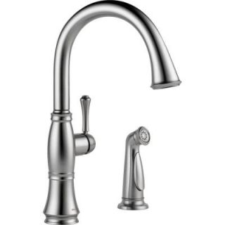 Delta Cassidy Single Handle Side Sprayer Kitchen Faucet in Arctic Stainless 4297 AR DST